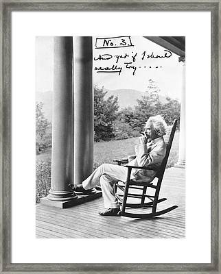 Mark Twain On A Porch Framed Print