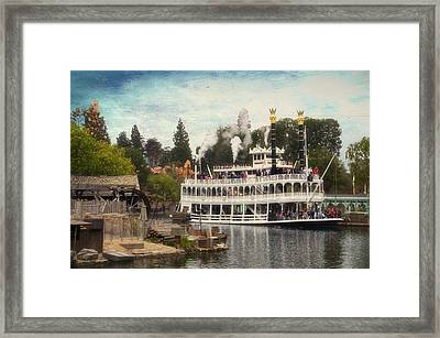 Mark Twain Riverboat Frontierland Disneyland Textured Sky Framed Print by Thomas Woolworth