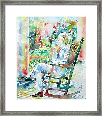 Mark Twain Sitting And Smoking A Cigar - Watercolor Portrait Framed Print