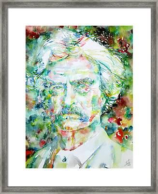 Mark Twain - Watercolor Portrait Framed Print by Fabrizio Cassetta