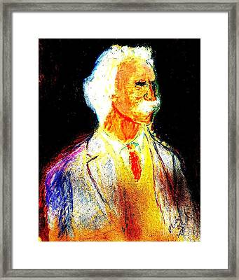 Framed Print featuring the painting Mark Twains Yellow Vest 1 by Richard W Linford