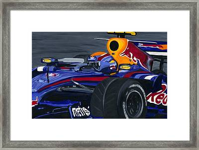Mark Webber R B R Charging 2008  Framed Print