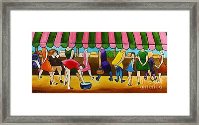 Market Day Under Pink Awning Framed Print by William Cain