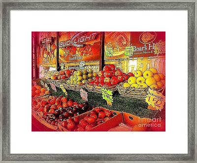 Apples And Plums In Red - Outdoor Markets Of New York City Framed Print by Miriam Danar