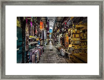 Market In The Old City Of Jerusalem Framed Print