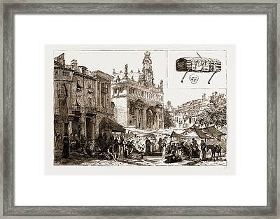 Market Place And Church Of San Juanes, Valencia Framed Print by Litz Collection