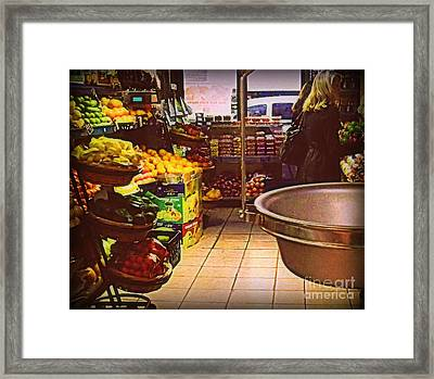 Market With Bronze Scale Framed Print by Miriam Danar