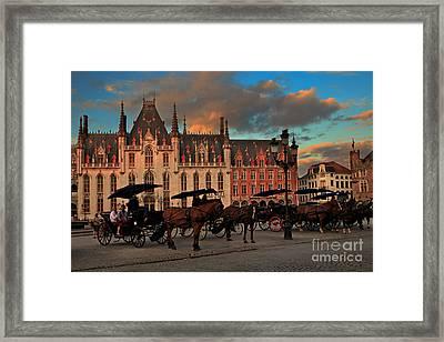 Markt Square At Dusk In Bruges Framed Print
