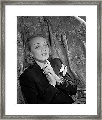 Marlene Dietrich Wearing A Suit Jacket Framed Print