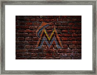 Marlins Baseball Graffiti On Brick  Framed Print by Movie Poster Prints