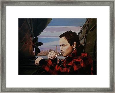 Marlon Brando - On The Waterfront Framed Print by Jo King