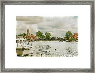 Marlow Suspension Bridge And All Saints Church Framed Print