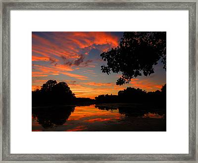 Marlu Lake At Sunset Framed Print by Raymond Salani III