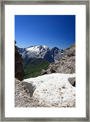 Framed Print featuring the photograph Marmolada From Saas Pordoi by Antonio Scarpi