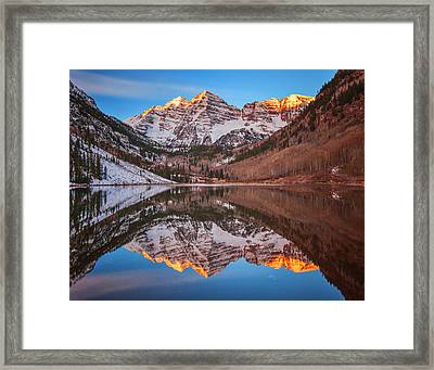 Maroon Bells Alpenglow Framed Print by Darren  White