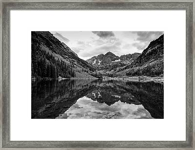 Maroon Bells - Aspen - Colorado - Black And White Framed Print