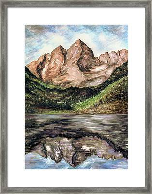 Maroon Bells Colorado - Landscape Art Framed Print by Art America Gallery Peter Potter