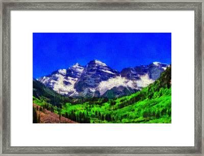 Maroon Bells Colorado Peaks On Canvas Framed Print