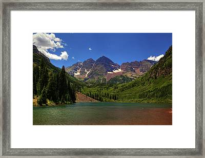 Framed Print featuring the photograph Maroon Bells From Maroon Lake by Alan Vance Ley