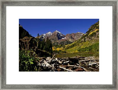Framed Print featuring the photograph Maroon Bells by Jeremy Rhoades