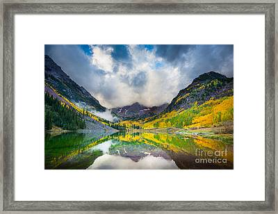 Maroon Bells Morning Clouds Framed Print by Inge Johnsson