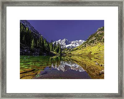 Maroon Bells Reflection Framed Print by Chris Locke