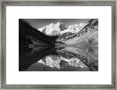 Maroon Bells Reflections - Black And White Framed Print
