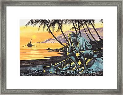 Marooned Man Framed Print by Ron Embleton
