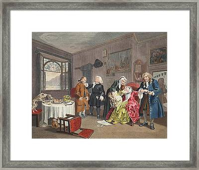 Marriage A La Mode, Plate Vi, The Ladys Framed Print by William Hogarth