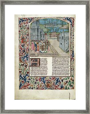 Marriage Of Edward II To Isabella Of Fran Framed Print by British Library