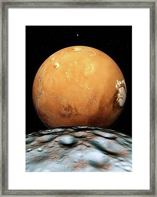 Mars And Its Moons Framed Print