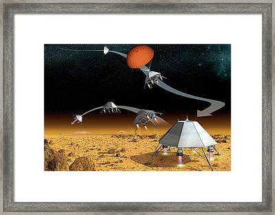 Mars Hopper Spacecraft Framed Print by Claus Lunau