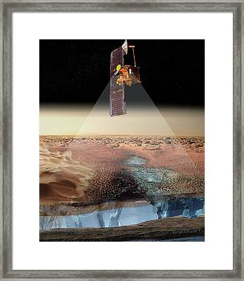 Mars Odyssey Spacecraft Detecting Ice Framed Print by Nasa/jpl/university Of Arizona/los Alamos National Laboratories