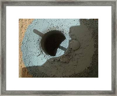 Mars Rock Drill Hole Framed Print by Nasa/jpl-caltech/msss