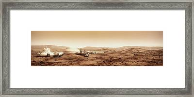 Mars Settlement Landscape With Farm Framed Print
