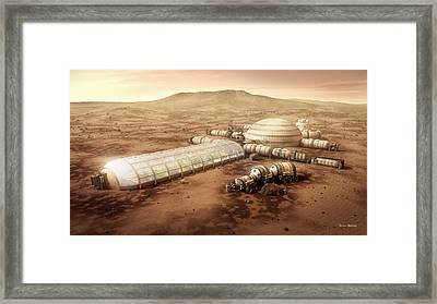 Framed Print featuring the mixed media Mars Settlement With Farm by Bryan Versteeg
