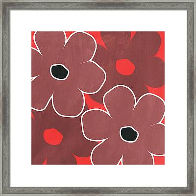 Marsala And Red Flowers- Bold Floral Art Framed Print by Linda Woods