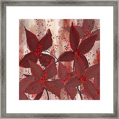 Marsala Floral Framed Print by Lourry Legarde