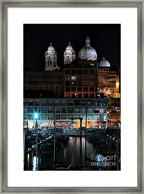 Marseille Cathedral At Night Framed Print by John Rizzuto