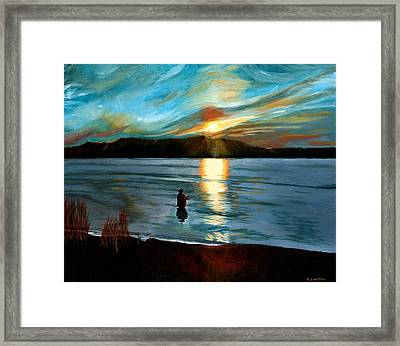 Marsh Creek October Sunset Framed Print by Phillip Compton