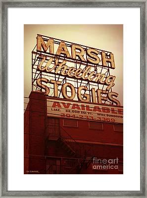 Marsh Stogies Sign Framed Print by Jim Zahniser