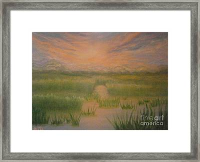 Framed Print featuring the painting Marsh Sunset by Holly Martinson