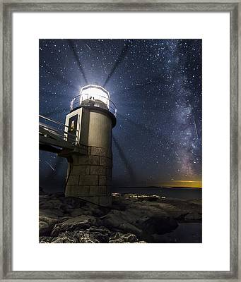 Marshall Lighthouse And The Night Sky Framed Print by John Vose