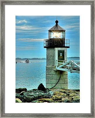 Marshall Point Light And Boat Framed Print by Carolyn Fletcher