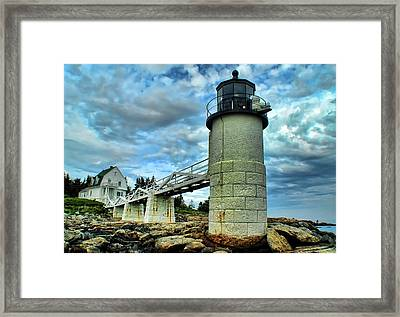 Marshall Point Light From The Rocks Framed Print by Carolyn Fletcher