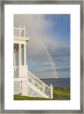 Marshall Point Lighthouse And Rainbow In Maine Framed Print by Keith Webber Jr