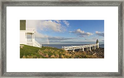 Marshall Point Lighthouse And Rainbow Panorama In Maine Framed Print