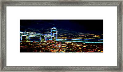 Marshall Point Lighthouse Neon Framed Print by David Smith