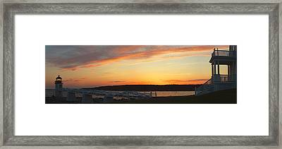 Marshall Point Lighthouse Panorama At Sunset In Maine Framed Print