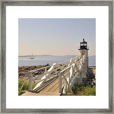 Marshall Point Lighthouse Port Clyde Maine With Sailboat Framed Print by Marianne Campolongo